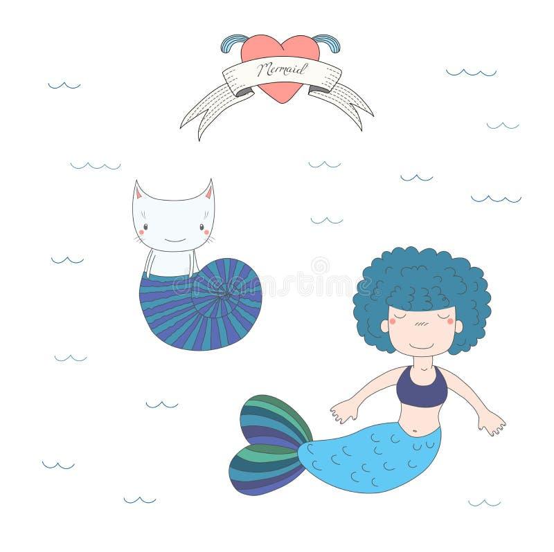 Sirenas y gatos lindos bajo ejemplo del agua ilustración del vector