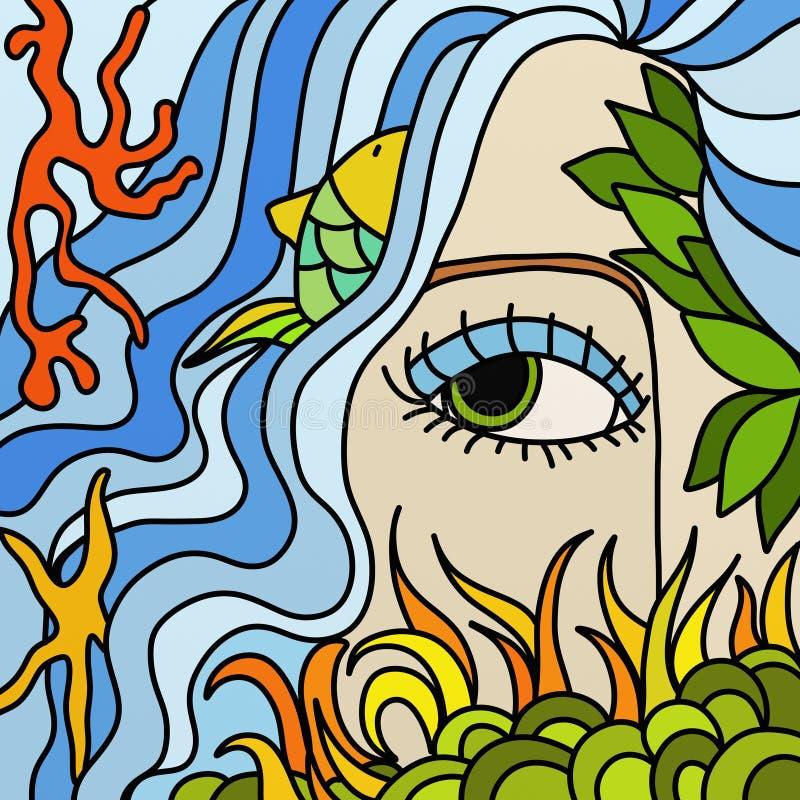 Sirene en oceaan royalty-vrije illustratie