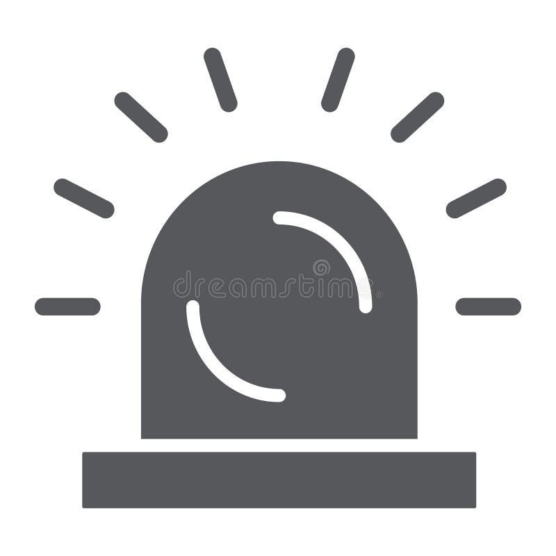 Sirene glyph pictogram, licht en voorzichtigheid, alarmteken, vectorafbeeldingen, een stevig patroon op een witte achtergrond royalty-vrije illustratie