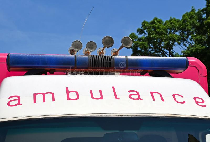 Sirens and light of the ambulance. V stock photo
