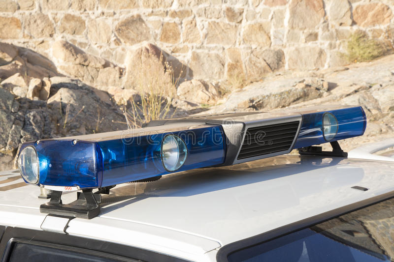 Sirens and lights of an old police car. Off stock photo