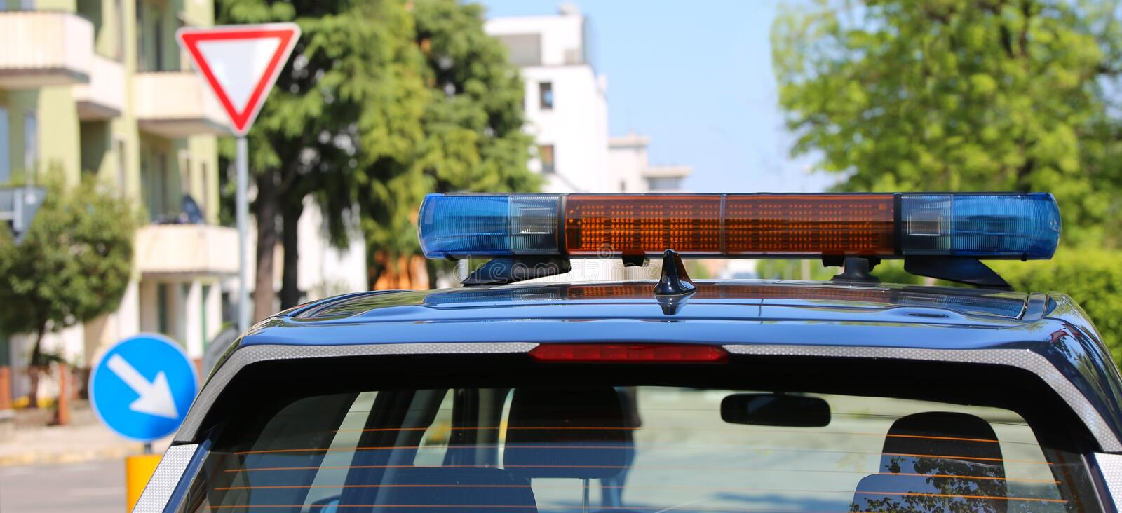 Sirens off the blue police car. Sirens off the blue car of the Italian police royalty free stock images