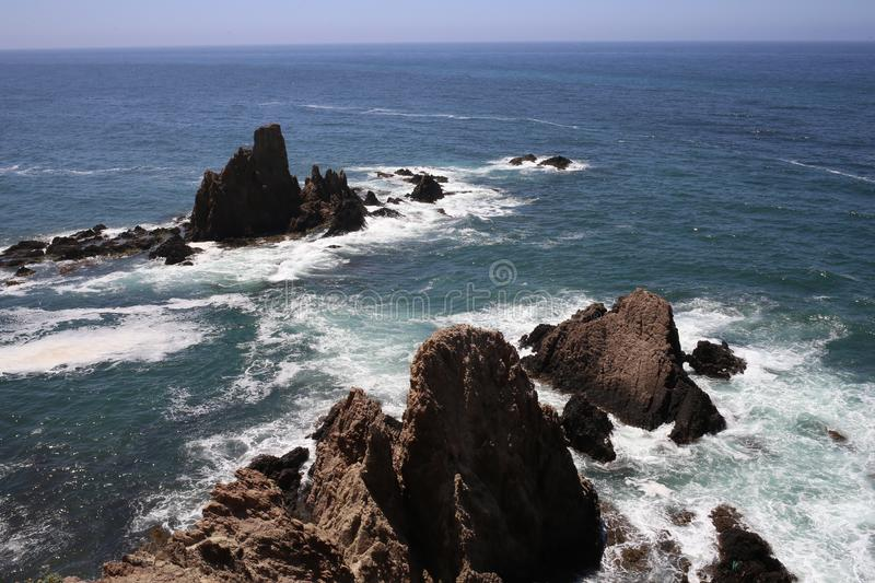 The sirens reef in the Cabo de Gata. The sirens reef in the natural park `Cabo de Gata`, in the province of Almeria, Andalucia, Spain. With beautiful landscapes royalty free stock photo