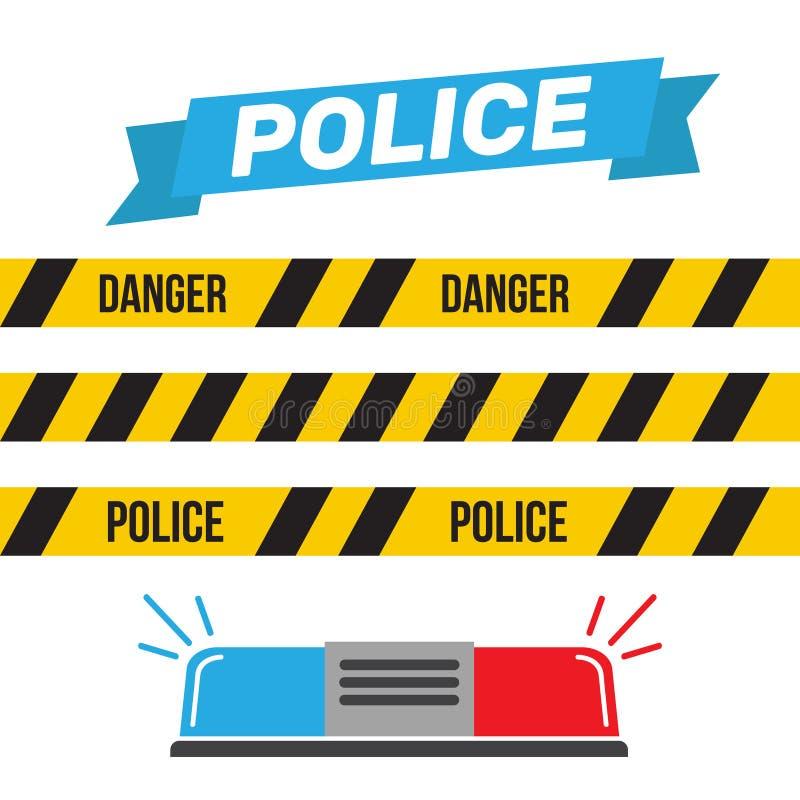 Sirenuppsättning Polisblinker eller ambulansblinker Sirenpolislig vektor illustrationer