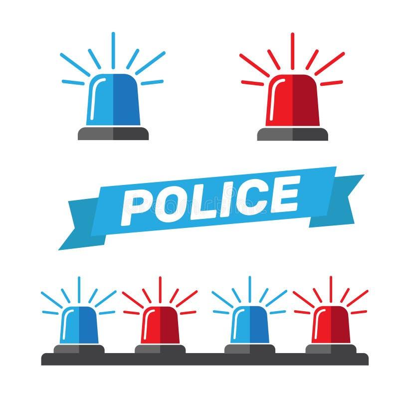 Sirenuppsättning Polisblinker eller ambulansblinker Sirenpolislig royaltyfri illustrationer