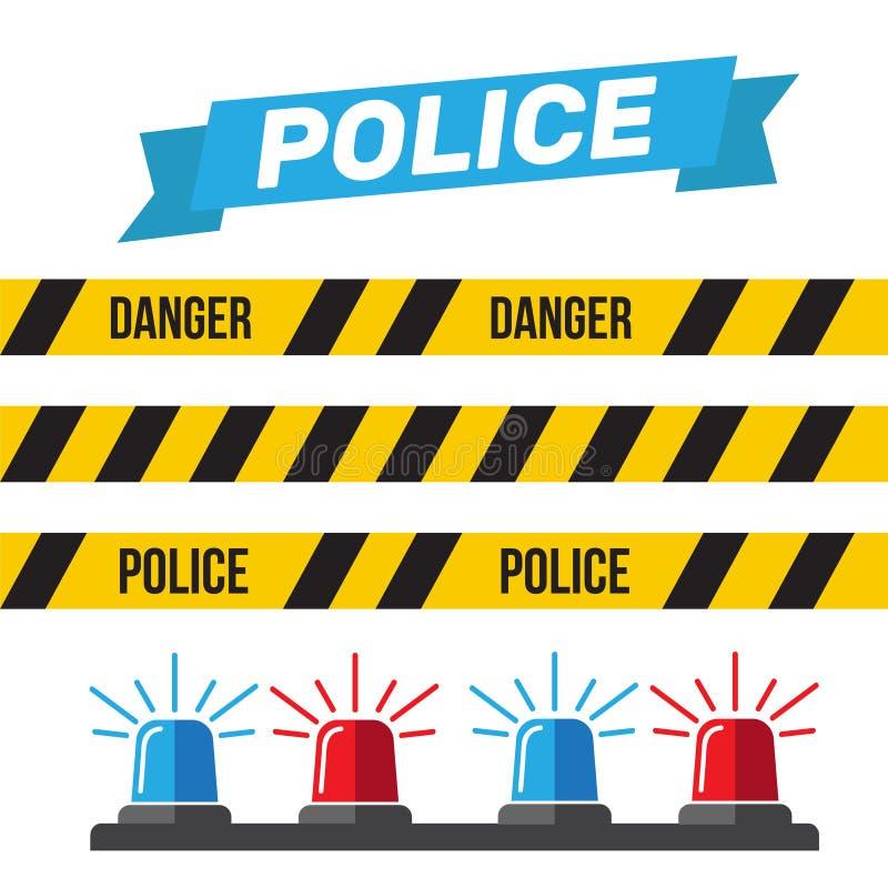 Sirenuppsättning Polisblinker eller ambulansblinker Sirenpolislig stock illustrationer