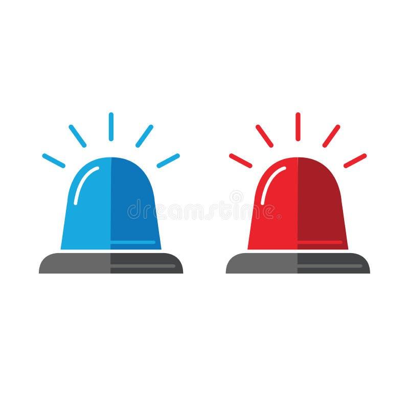 Sirenuppsättning Polisblinker- eller ambulansblinkersymboler royaltyfri illustrationer