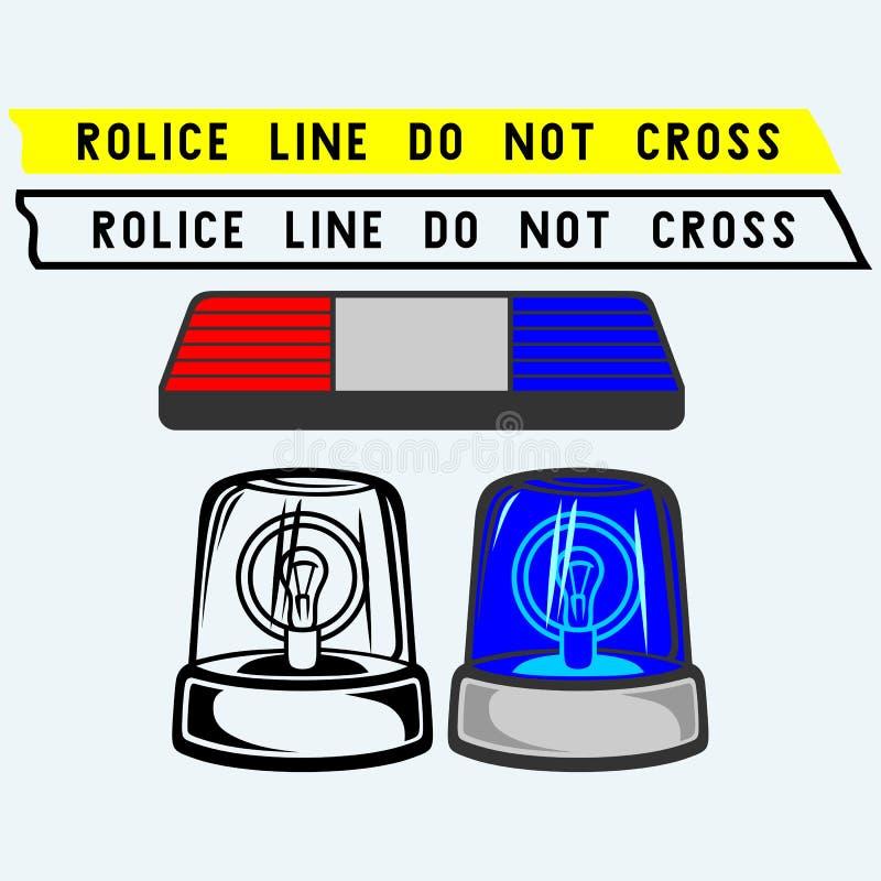 Sirenuppsättning Polisen tejpar, blinkern eller ambulansen vektor illustrationer