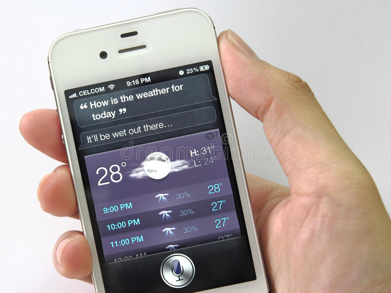 Siri on iPhone 4S (Weather Forecast) royalty free stock images