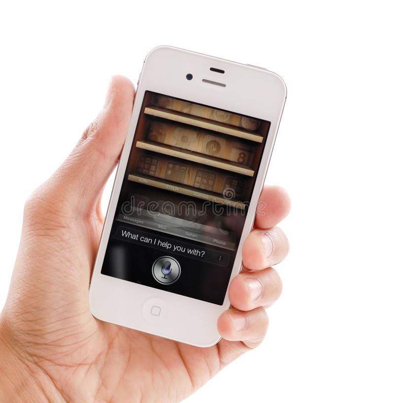 Siri op IPhone 4s royalty-vrije stock foto