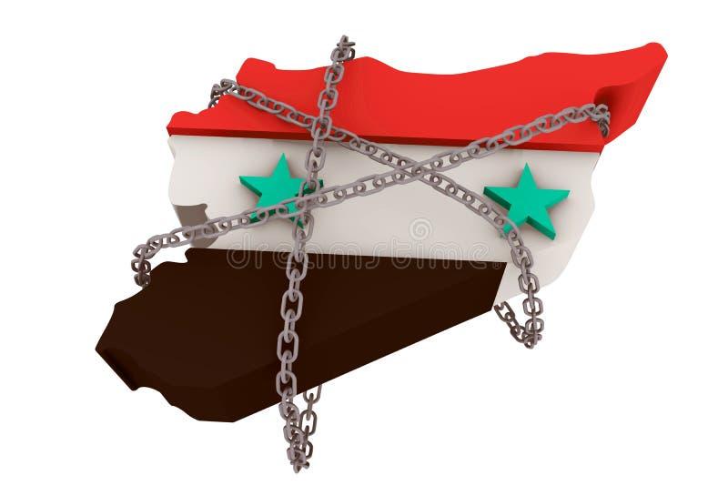 Siria mantuvo por los encadenamientos de la dictadura ilustración del vector