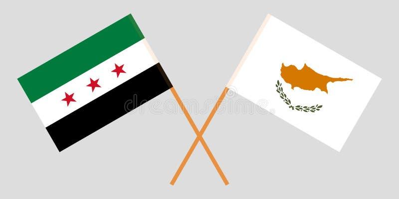 Siria y Chipre La coalición nacional siria y las banderas chipriotas Proporción oficial Colores correctos Vector stock de ilustración