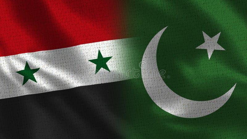 Siria y Paquistán - bandera dos junto - textura de la tela fotos de archivo libres de regalías