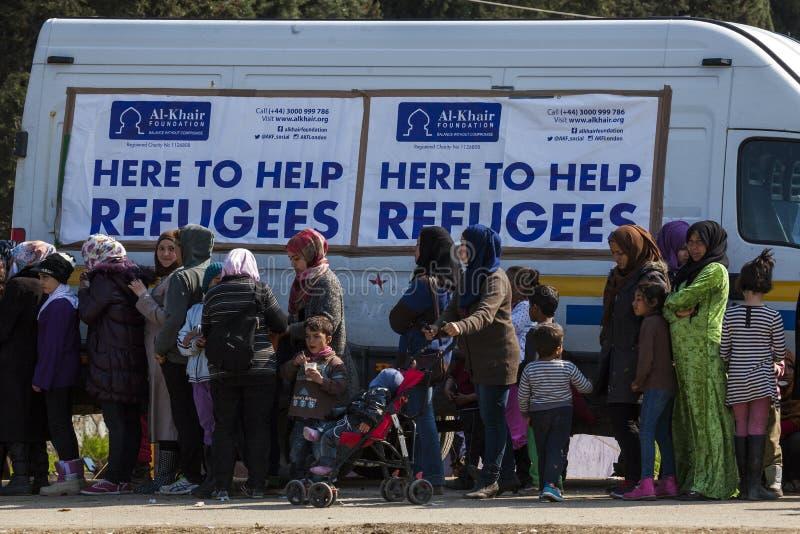 Sirian uchodźcy blokujący w Idomeni zdjęcia royalty free