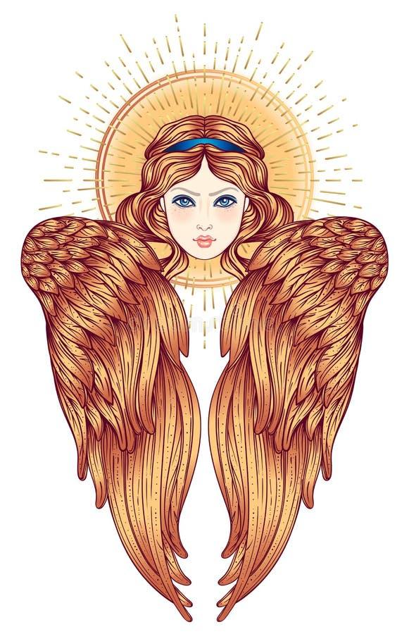 Sirin, Alkonost, criatura mitológica de Gamayun de legendas do russo Menina do anjo com wings Ilustração tirada mão isolada ilustração do vetor