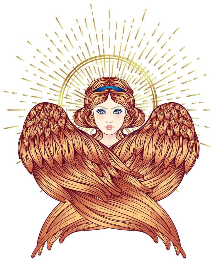 Sirin, Alkonost, Gamayun mitologiczna Rosyjskie legendy istota anioła projekta dziewczyny ilustraci skrzydła Odosobniona ręka rys royalty ilustracja