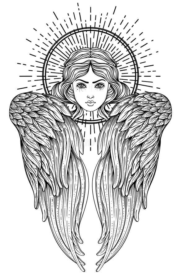 Sirin, Alkonost, Gamayun mitologiczna Rosyjskie legendy istota anioła projekta dziewczyny ilustraci skrzydła Odosobniona ręka rys ilustracji