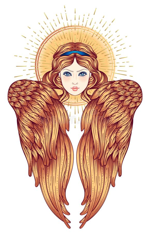Sirin, Alkonost, Gamayun mitologiczna Rosyjskie legendy istota anioła projekta dziewczyny ilustraci skrzydła Odosobniona ręka rys ilustracja wektor