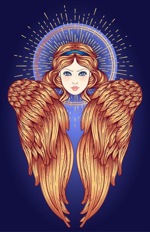 Sirin, Alkonost, Gamayun mitologiczna Rosyjskie legendy istota anioła projekta dziewczyny ilustraci skrzydła szczotkarski węgiel  royalty ilustracja