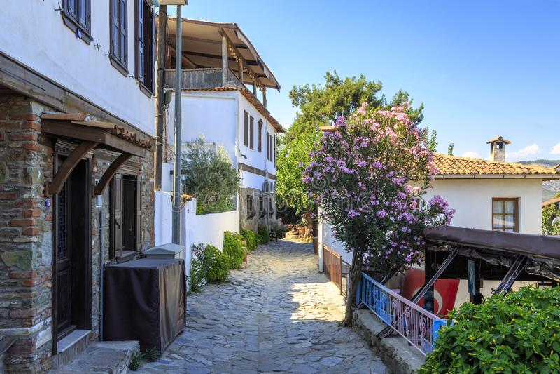 Sirince村庄,土耳其街道视图伊兹密尔上帝的 免版税图库摄影