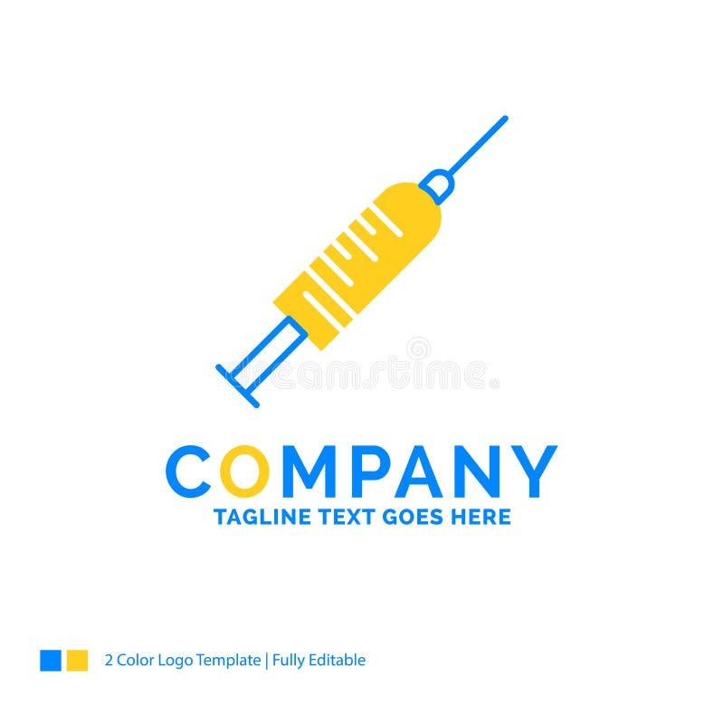 siringa, iniezione, vaccino, ago, affare giallo blu L del colpo illustrazione di stock