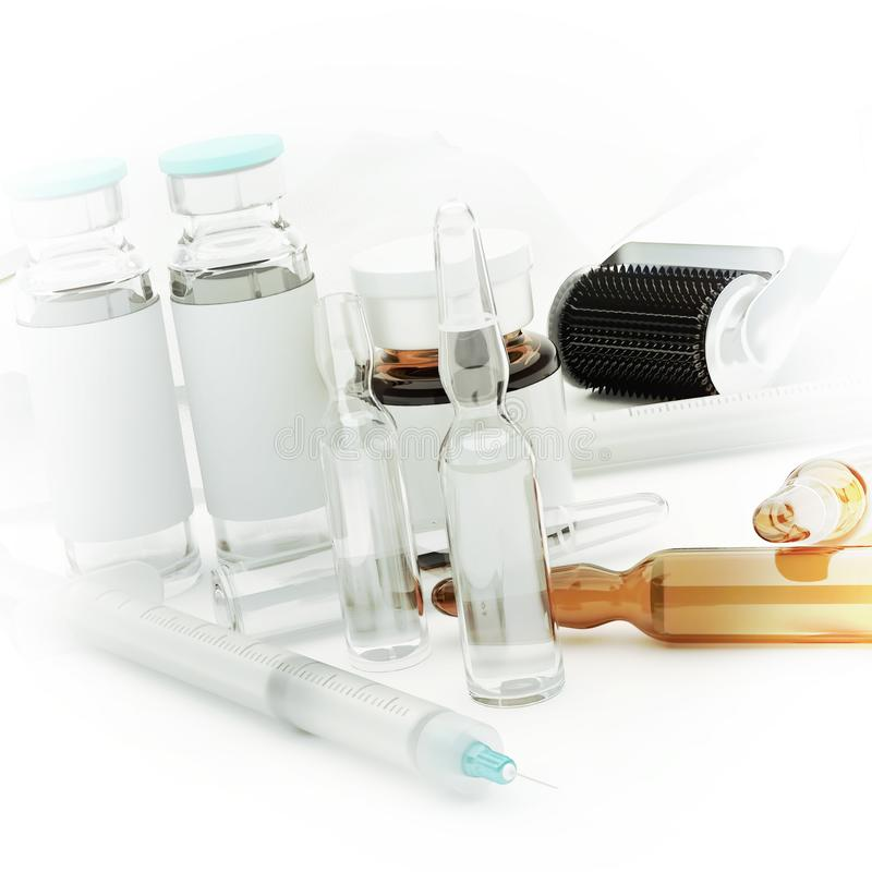 Siringhe, fiale di vetro e rullo di Derma per il rejuvenatin di cura di pelle fotografia stock libera da diritti