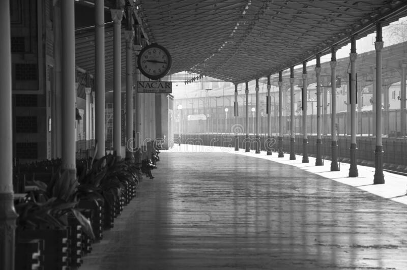 Sirkeci train station from istanbul turkey. Black and white stock photography