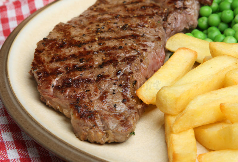 Sirloin Beef Steak & Chips Meal Stock Photography