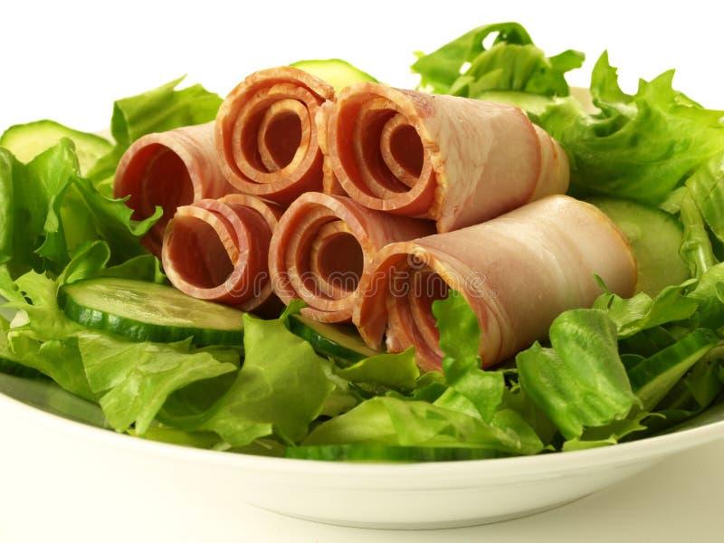 Sirloin na salada, isolada imagens de stock royalty free