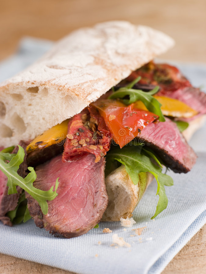 Free Sirloin Steak And Roasted Pepper Ciabatta Sandwich Royalty Free Stock Images - 5951269