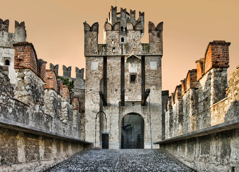 Sirmione castle gates stock photography