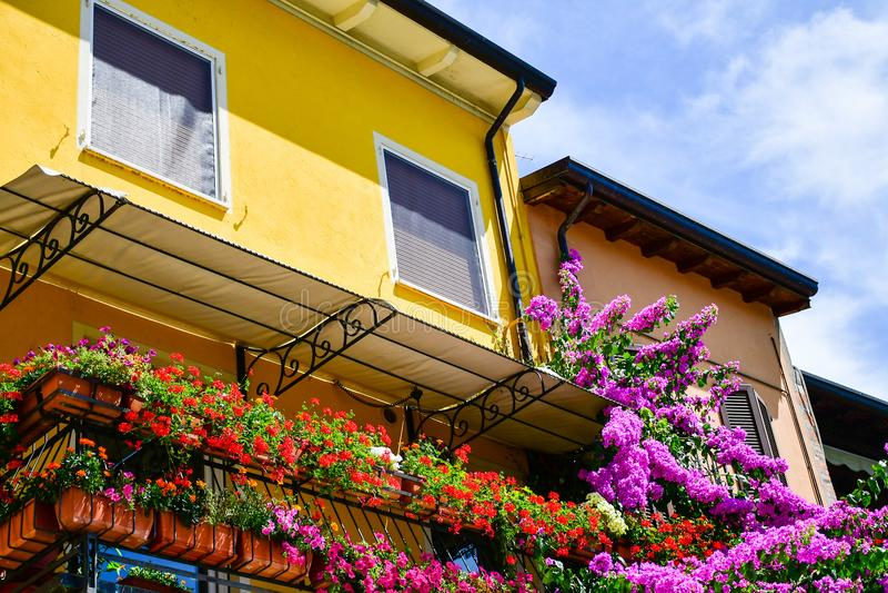 Sirmione on Garda lake Lago di Garda, Italy. Pittoresque house  in the old town Sirmione on Garda lake Lago di Garda royalty free stock image
