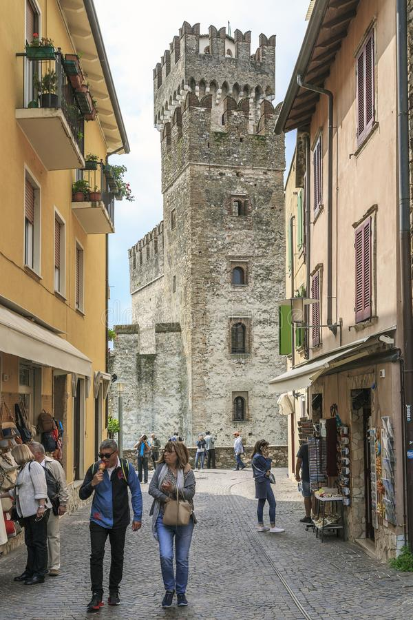 SIRMIONE, ITALY - MAY 13, 2018: It is about the bottom of the streets of the old city next to the Rocca Scaligera stock photos