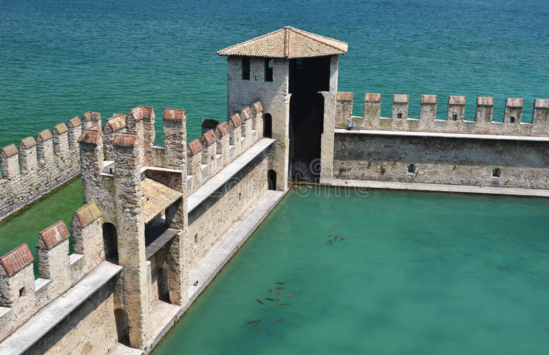 Sirmione town, Garda lake, Italy. Old fortress of Sirmione town, Garda lake, Italy royalty free stock photos