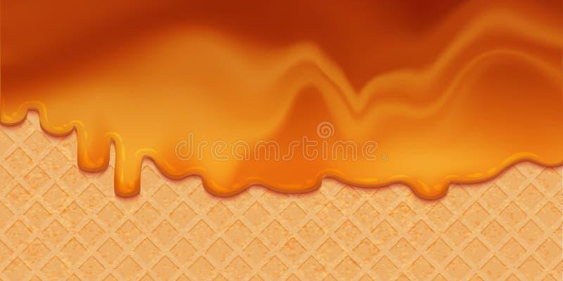 Sirop de caramel fondu sur la gaufrette illustration de vecteur