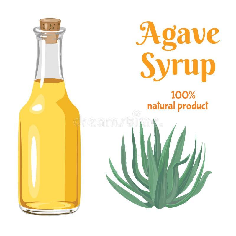 Sirop lumineux d'agave dans la bouteille en verre d'isolement illustration stock