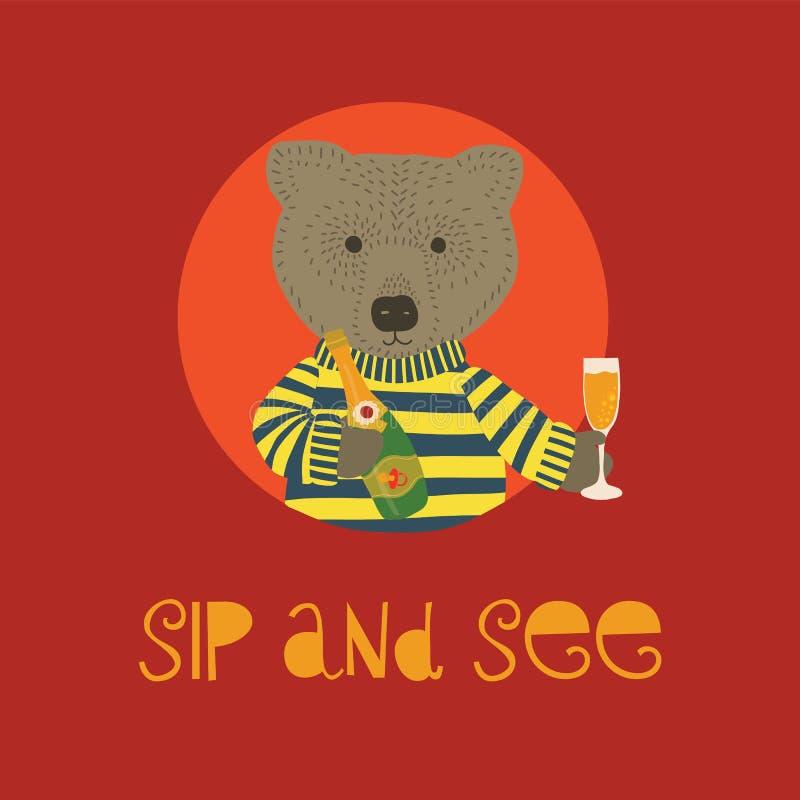 Sirotez et voyez l'illustration de vecteur avec l'ours tenant la bouteille et la cannelure de champagne Invitation pour la célébr illustration de vecteur