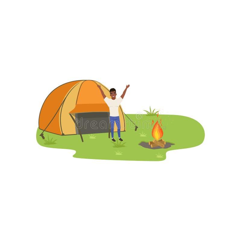 Sirva acampar en naturaleza con el fuego delante de la tienda, viajar y el concepto relajante, vector de las vacaciones de verano stock de ilustración