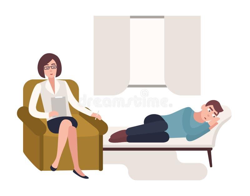 Sirva acostarse en el sofá y psicólogo, psicoanalista o psicoterapeuta de sexo femenino sentándose en silla al lado de él con ilustración del vector