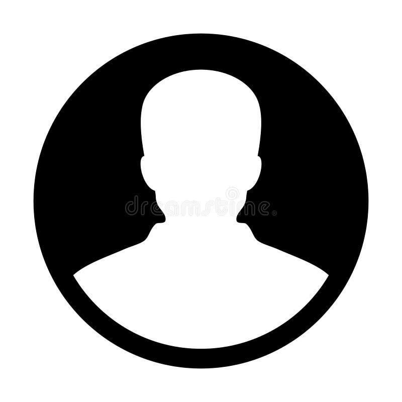 Sirva al avatar del perfil de la persona del usuario del vector del icono en pictograma plano del glyph del color stock de ilustración