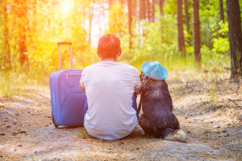 Sirva al viajero que se sienta con un perro en el bosque del pino imagenes de archivo