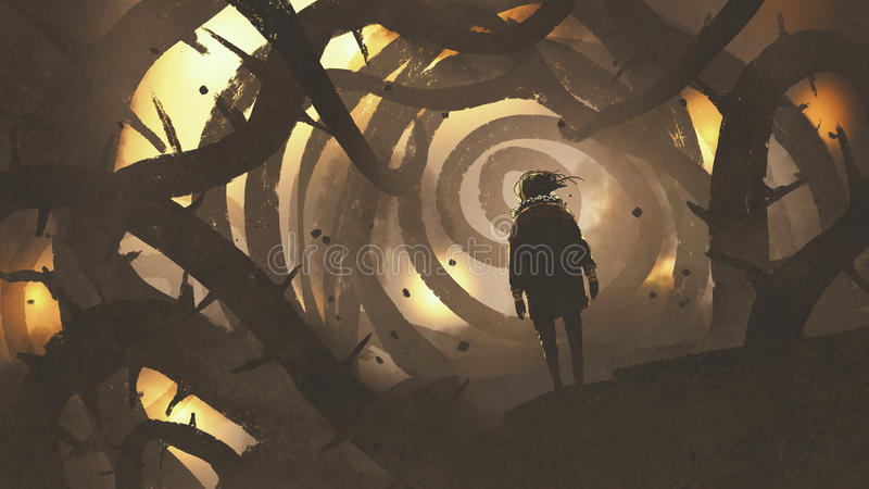 Sirva caminar en bosque del misterio con el árbol espinoso stock de ilustración