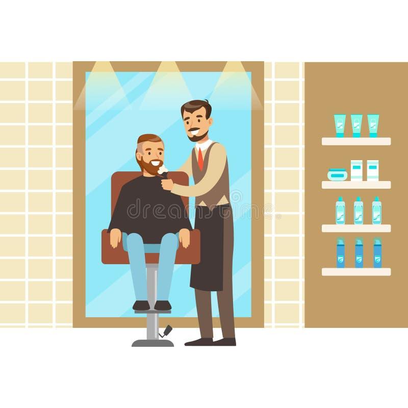 Sirva conseguir un afeitado del peluquero de sexo masculino en el salón Ejemplo colorido del vector del personaje de dibujos anim stock de ilustración