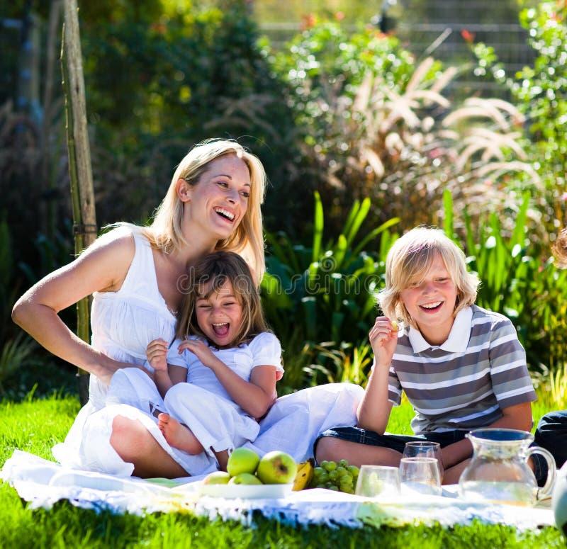 Sirva de madre y sus niños que juegan en una comida campestre imágenes de archivo libres de regalías