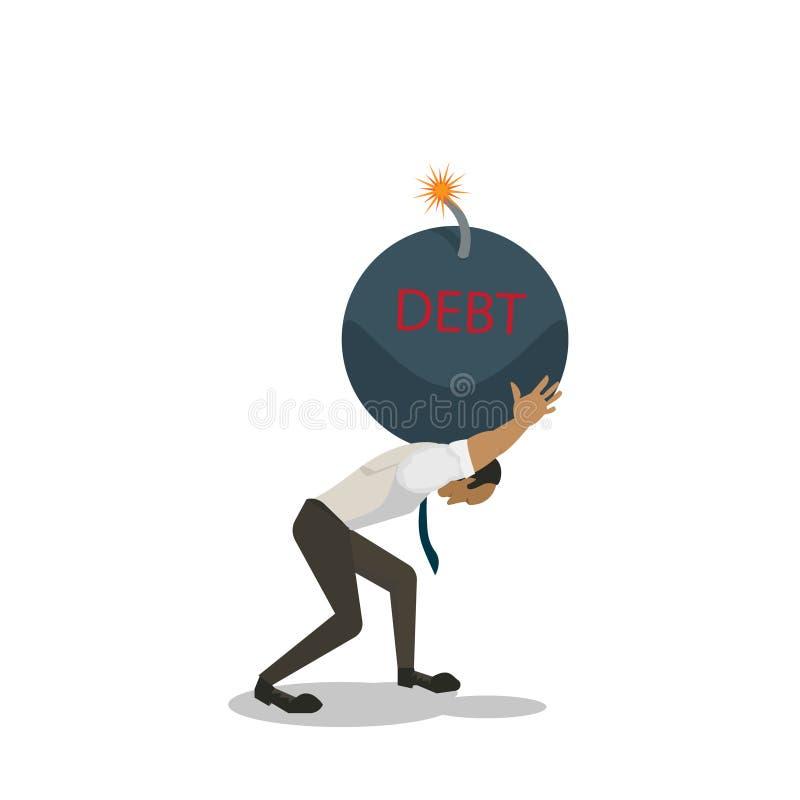 Sirva el arrodillamiento abajo en el piso porque lleva una bomba grande de la deuda en su hombro stock de ilustración