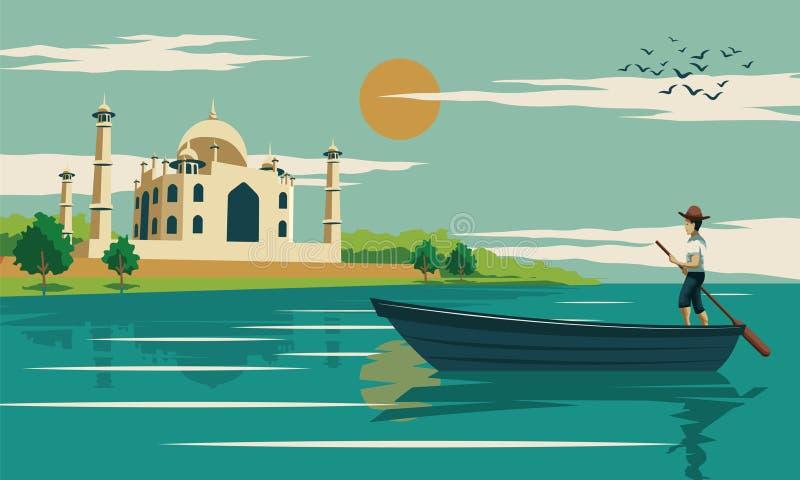 Sirva el barco de fila cerca por el Taj Mahal, el símbolo del amor y landmar famoso stock de ilustración