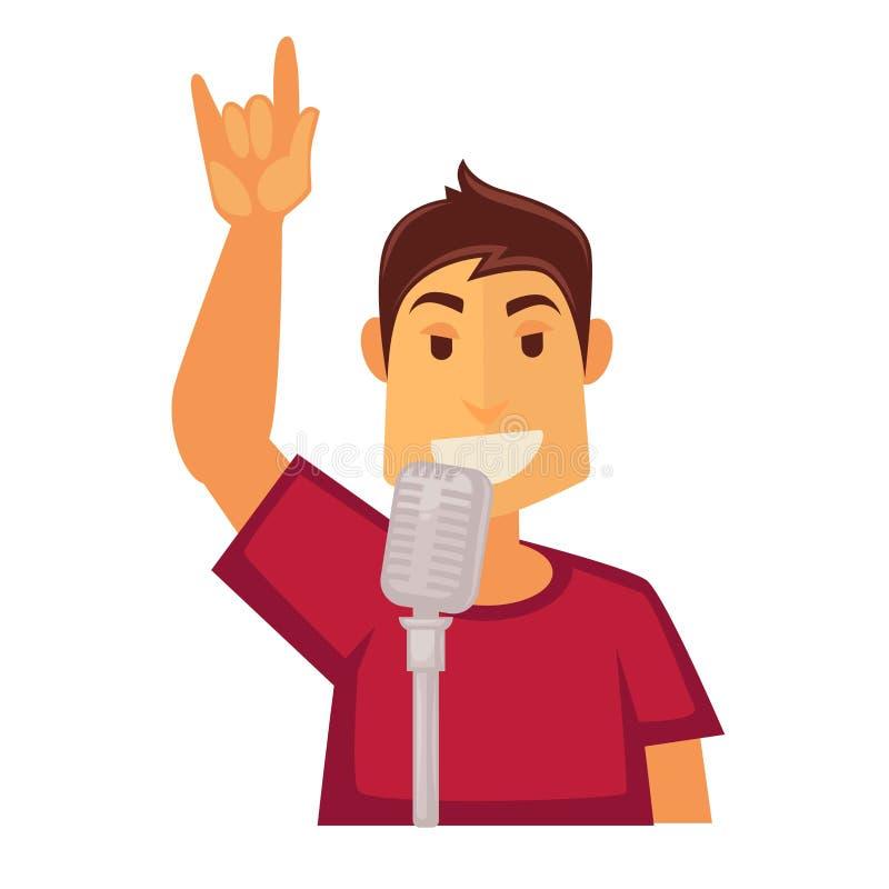 Sirva el canto en el micrófono aislado en el fondo blanco Cantante del Karaoke libre illustration