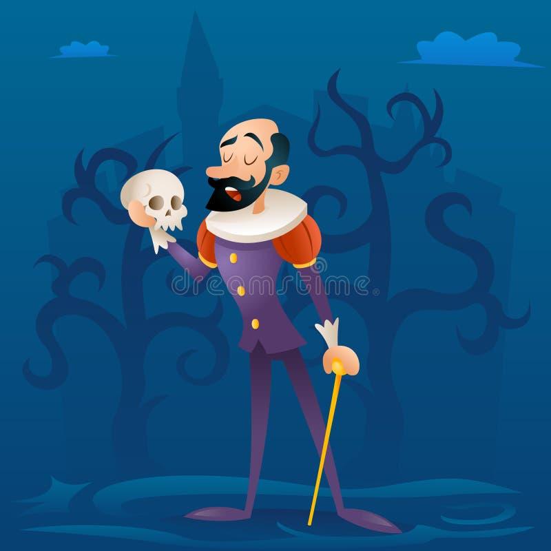 Sirva el ejemplo retro del vector del diseño de personaje de dibujos animados del traje del actor de la etapa trágica medieval de ilustración del vector