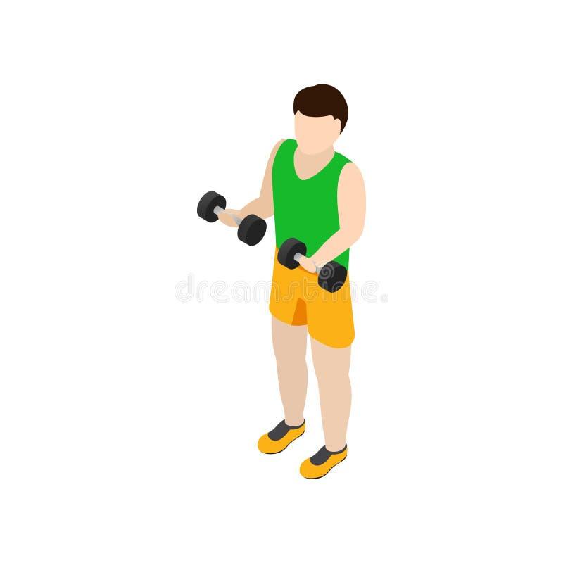 Sirva el ejercicio con el icono de las pesas de gimnasia, 3d isométrico libre illustration