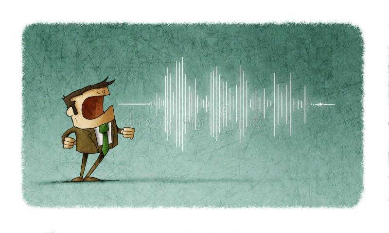 Sirva el griterío o el discurso y la onda del sonido que salen de su boca stock de ilustración
